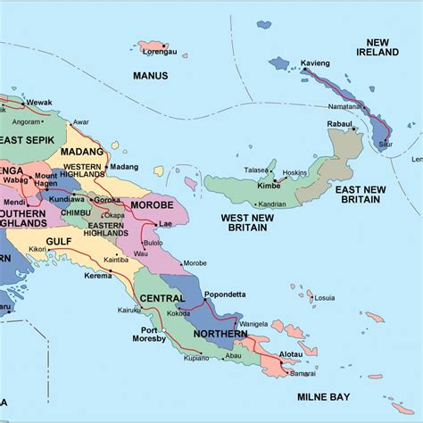 papua  guinea political map eps illustrator map