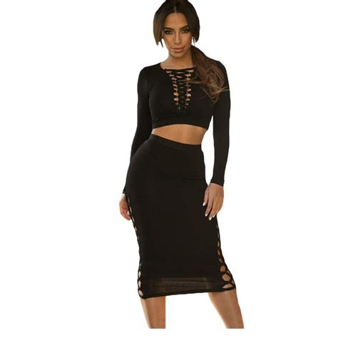 Free Shipping 2016 Fashion Lace up Detail Long Sleeve Crop Top Midi Skirt Set NA60868 Sexy ...