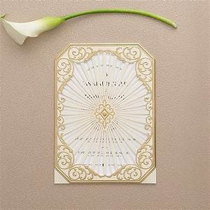 art deco laser embossed invitations with personalisation With art deco wedding invitations vistaprint