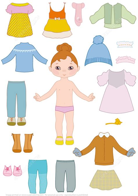 child girl paper doll  clothes  printable