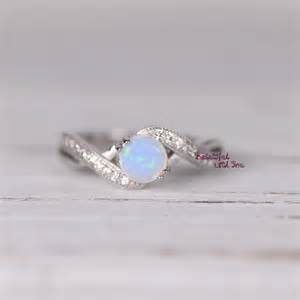 opal engagement ring womens sterling silver white opal ring silver opal ring created opal ring with cubic