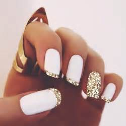 Nail polish gold nails white tips sparkly