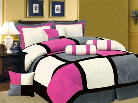pink black and white comforter sets new pink black white gray bedding suede comforter set t