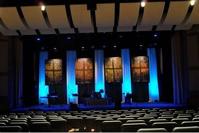 Stage Church Square Curtains Four Projection Screen