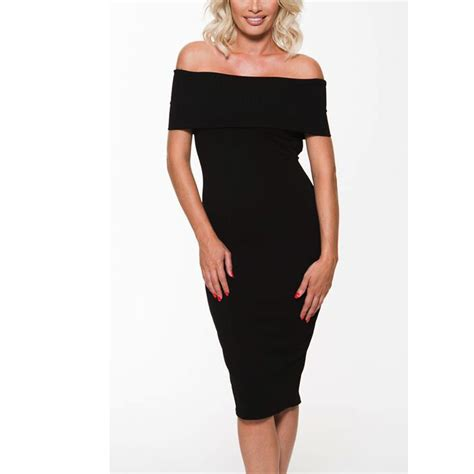 Womens Ladies Off The Shoulder Bardot Midi Bodycon Dress