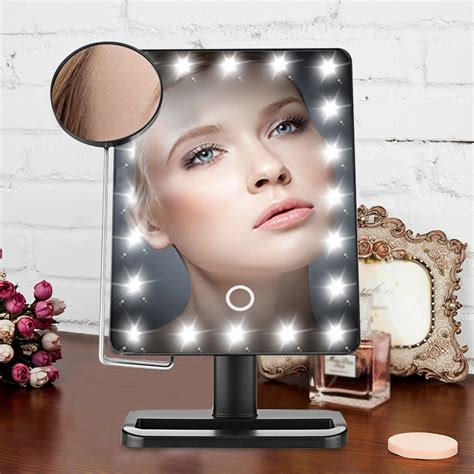 portable makeup mirror with lights portable touch screen 10x magnifier led makeup lighted
