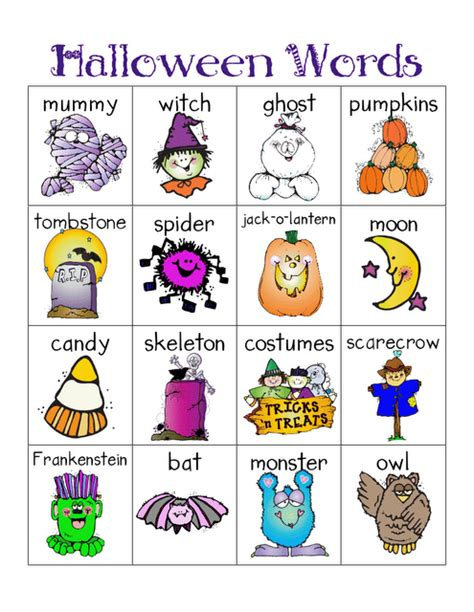 Free Printable Halloween Vocabulary  Festival Collections