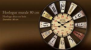 Grosse Pendule Murale : grande horloge bistrot de paris 80 cm ~ Teatrodelosmanantiales.com Idées de Décoration