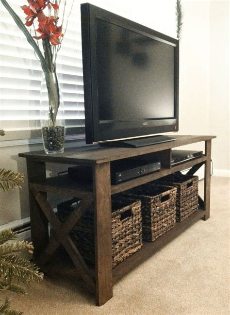 white storage bench with wicker baskets rustic wood tv stand woodworking projects plans