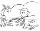 Fishing Coloring Boy Vector Cartoon Illustrations Clipart Clip Res sketch template