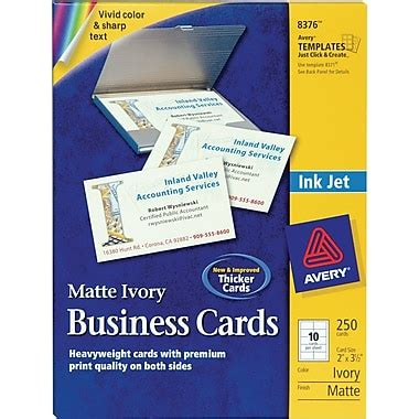 Avery Business Card Template Avery 174 Inkjet Business Cards Ivory 2 Quot X 3 1 2 Quot 250