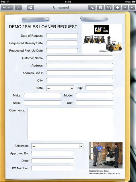 lift truck dealer  ipad  fill  sales loaner