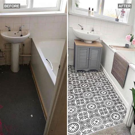 mums diy vinyl bathroom flooring transforms