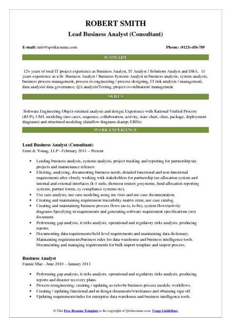 Lead Business Analyst Resume Samples Qwikresume