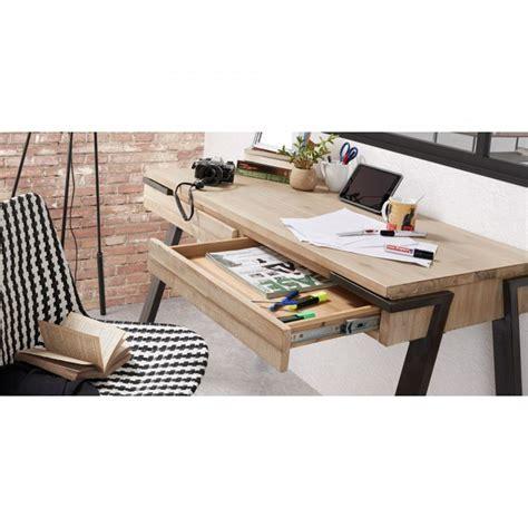 table bureau design bureau design bois et m 233 tal 125x60 2 tiroirs spike by drawer