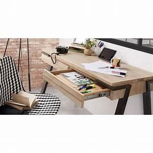 Bureau Bois Et Metal : bureau design bois et m tal 125x60 2 tiroirs spike by drawer ~ Teatrodelosmanantiales.com Idées de Décoration