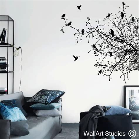 Birds On Branches Silhouette  Home Decor Decals  Wall