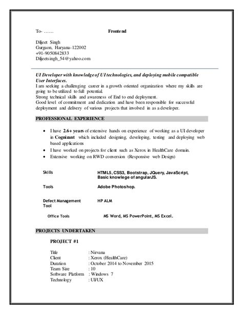 Extjs Developer Resume by Resume Diljeet Singh Ui Developer 2016 1