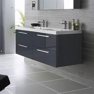 Salle de bain design avec meuble lavabo double vasque for Salle de bain design avec lavabo double salle de bain