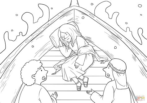 fresh  coloring pages  jesus calming  storm