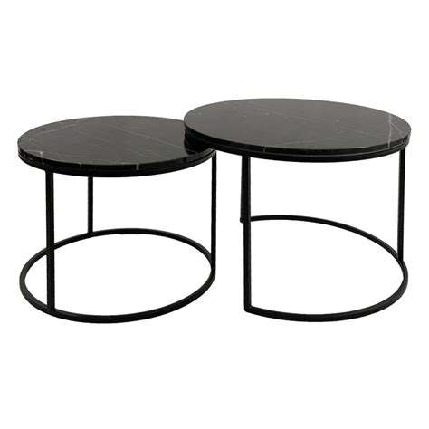Usually ships within 3 to 5 days. Enterprise 2 Piece Marble Topped Metal Round Nesting Coffee Table Set, 60cm, Black