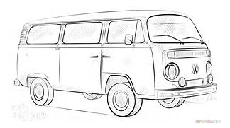 How to draw a VW bus   Step by step Drawing tutorials  Bus Drawing