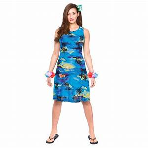 Ladies Blue Palm Dress Hawaiian Luau Fancy Dress Up BBQ ...