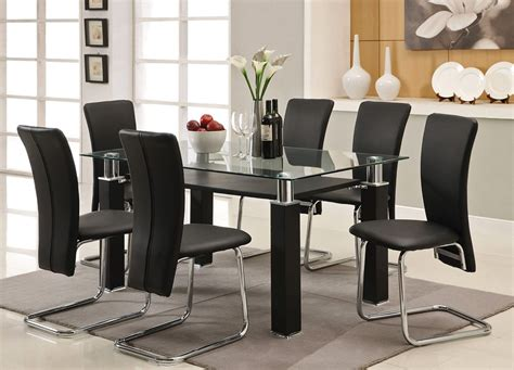 glass dining room table set regal black dining table set