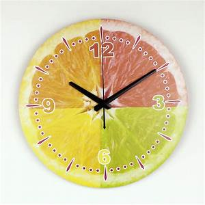 12quot modern lemon wall clock waterproof face fashion home With best brand of paint for kitchen cabinets with metal wall clock art
