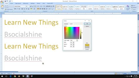 gold color code in ms paint how to make golden and silver colors in ms word youtube