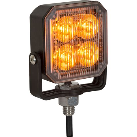 "Buyers 8891800 285"" 4 Led Amber Aluminum Square Strobe"
