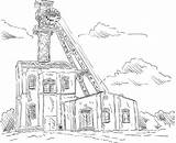Coal Mine Clip Vector Elevator Tower Illustrations Dibujo Mina Similar Depositphotos sketch template