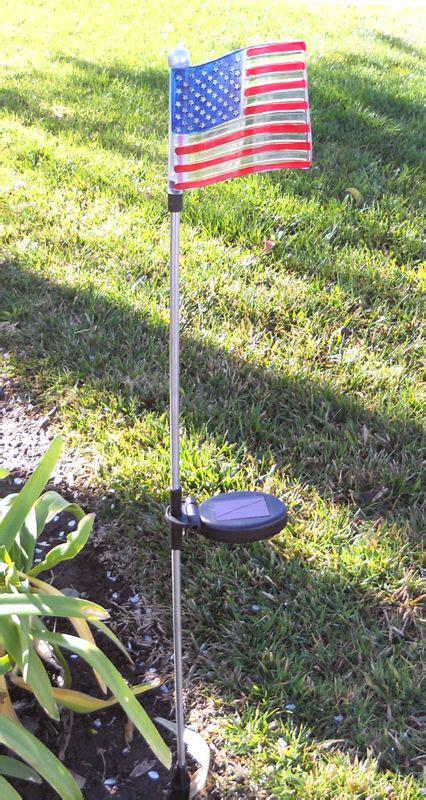2pc usa flag solar powered led light yard stake for garden