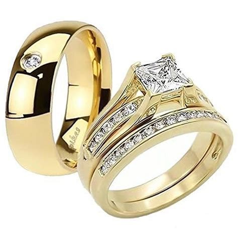 his her 14k g p stainless steel 3pc wedding engagement