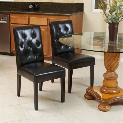 set   elegant black leather dining room chairs