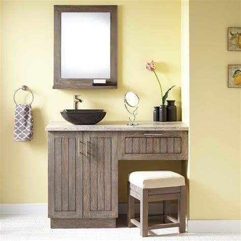 48 quot montara teak vessel sink vanity with makeup area gray wash modern bathroom vanities