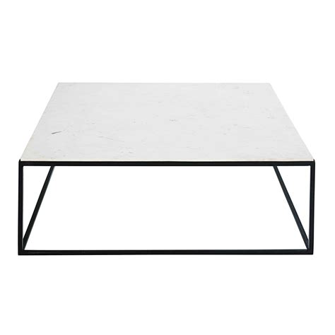 table basse effet marbre table basse carr 233 e en marbre blanc et m 233 tal noir marble maisons du monde