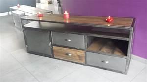 Meuble Acier Bois : mobilier industriel vintage pas cher meuble tv industriel pas cher ~ Teatrodelosmanantiales.com Idées de Décoration