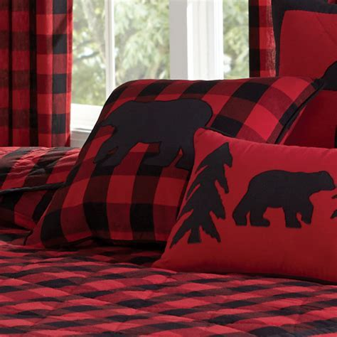 Black Bear Retreat Bear Plaid Square Pillow