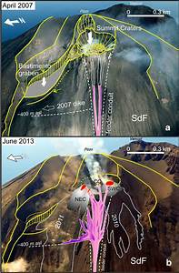Aerial Photos Of Stromboli Taken From N  Displaying A The