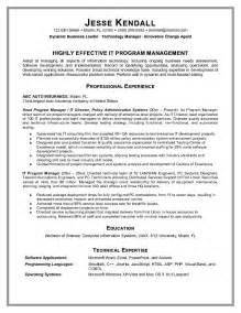 information technology manager resume exle information technology program manager resume sle