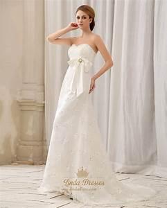 ivory strapless sweetheart empire waist lace wedding dress With strapless lace wedding dress with sash