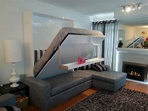 Wall bed sofa combination from murphysofa gas mechanism for Murphy bed and sofa combo