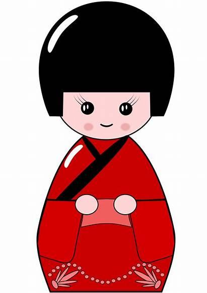 Japanese Clip Doll Kokeshi Clipart Japan Cliparts