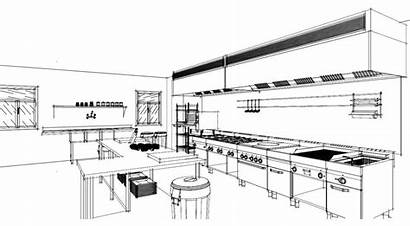 Kitchen Commercial Layout Restaurant Industrial Sketched Sketch