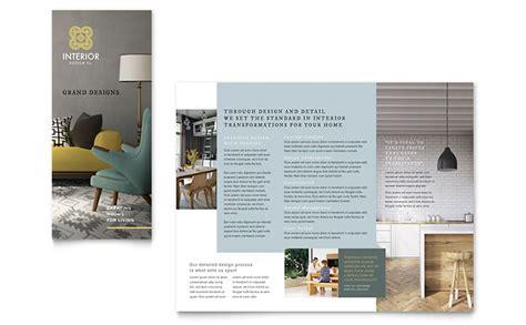 interior design tri fold brochure template design