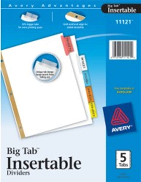 avery big tab template worksaver big tab insertable tab dividers with white paper