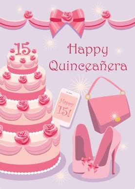 printable pretty  pink quinceanera card template