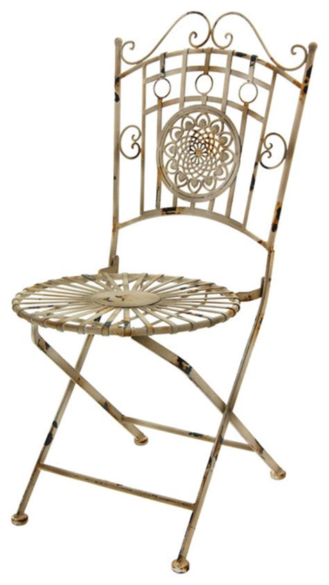 wrought iron garden chair distressed white outdoor