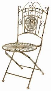 Wrought iron garden chair distressed white farmhouse for White wrought iron furniture
